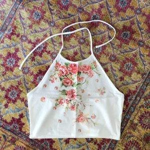Floral Cropped Halter Top